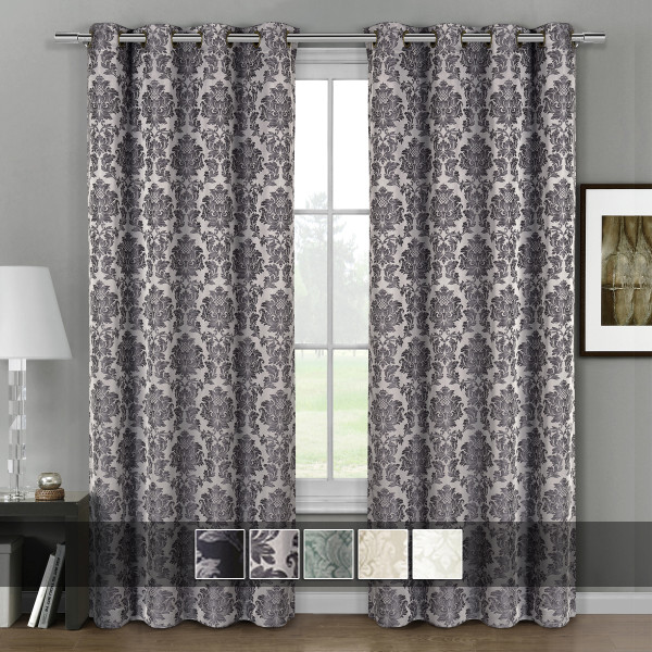 Aryanna Jacquard Floral Curtains With Top Grommets (Set of 2)