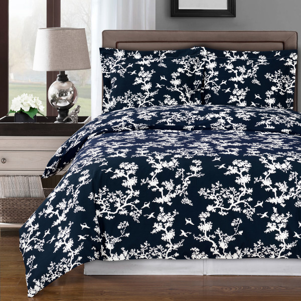 Navy/White-Lucy-Tree-Design-100%-Cotton-Duvet-Cover-Set