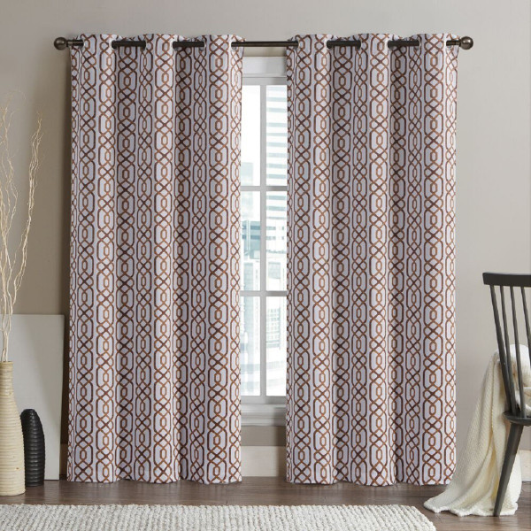 Alexander Blackout Weave Window Curtain Panels With Grommets (Pair) -Cinnamon