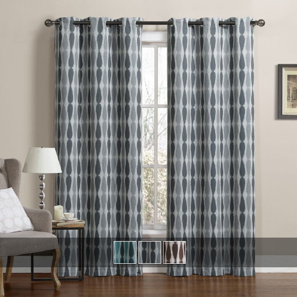 Printed Mansoon Triple Weave Blackout Curtain Panels (Set Of 2) With Colors