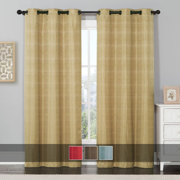 Murry Thermal Blackout Curtain Panels Jacquard Textured Image available colors