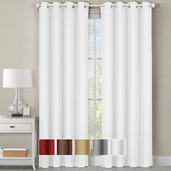Luxor Grommet Top Curtain Panel- white
