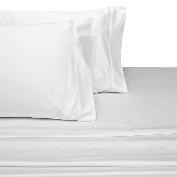 White Soft Extra Long Twin Bed Sheets 100%Cotton 600 Thread Count Solid