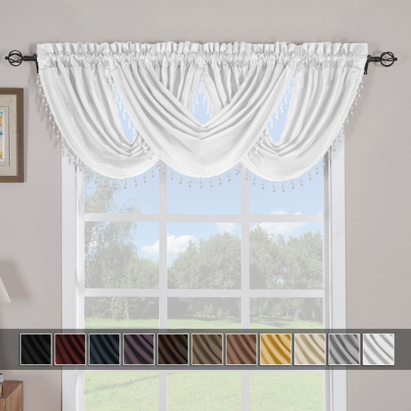 White Soho Waterfall Decorative Trim Window Valance (Single)
