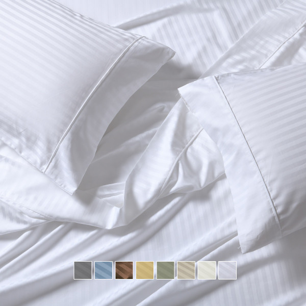 Wrinkle-Free California King Bed Sheet Set Cotton Sheets 650 Thread Count Damask Striped