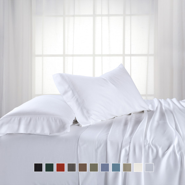 White-Top Split King (Flex Head Split King) Hybrid Bamboo Sheet Set