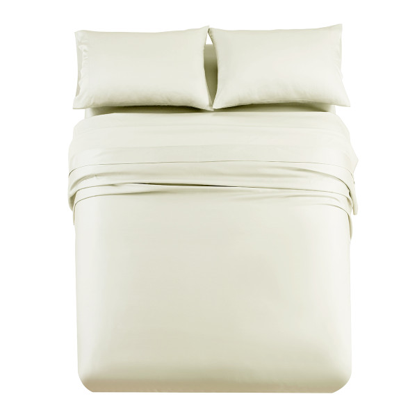Ivory Flex King ( Top Split) Tencel Lyocell 600 Thread Count Sheet Set