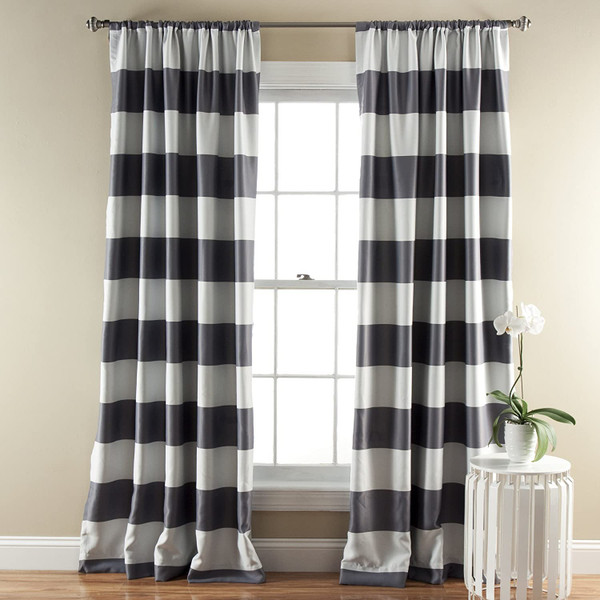 Grey Stripe Room Darkening 84-Inch Rod Pocket Window Curtain