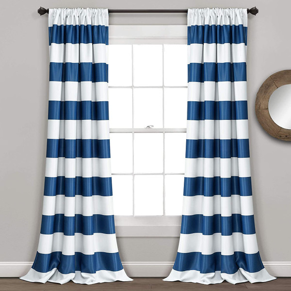 Navy Stripe Room Darkening Curtain
