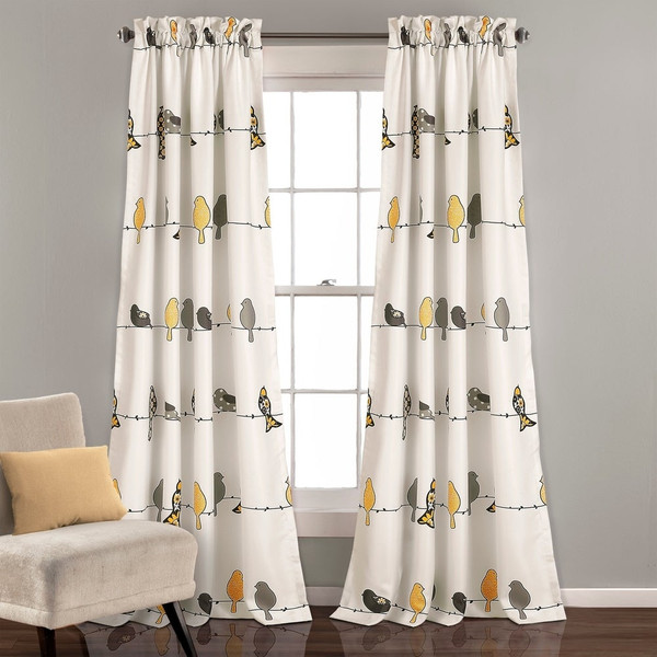 "Rowley Birds Room Darkening Curtain Panel Pair - 52"" W X 84"" L"
