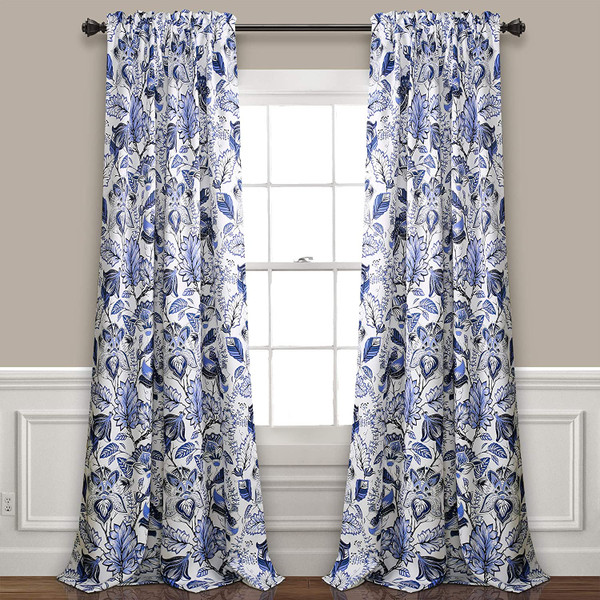 Cynthia Jacobean 84-Inch Room Darkening Rod Curtain