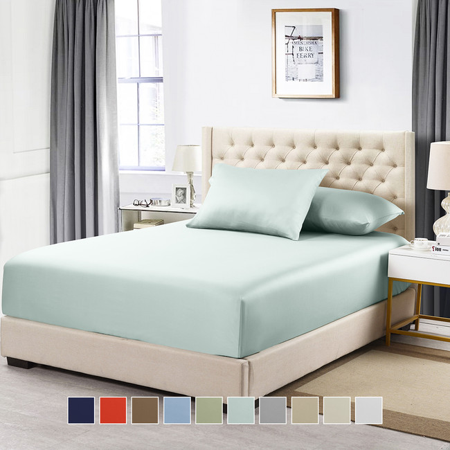 Twin Xl 100% Cotton Solid Fitted Sheet 600 Thread Count