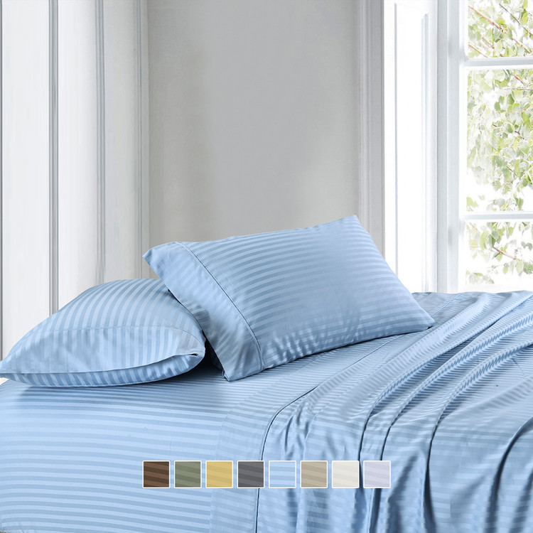 1000-Thread-Count-100- Cotton-Damask-Striped-Sheet-Set