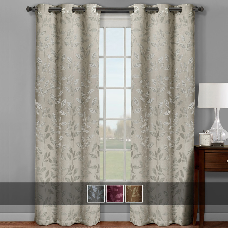 Claire Micro Suede Jacquard Blackout Weave Grommet Curtain Panels (Set of 2) With Colors