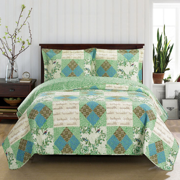 Davina Classic Patchwork Print Reversible Quilted Coverlet/ Image
