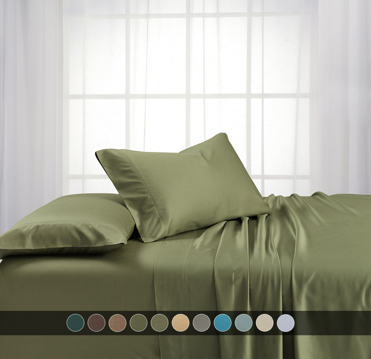 Sage-100% Bamboo Viscose Sheets With Deep Pockets 600 Thread Count Solid