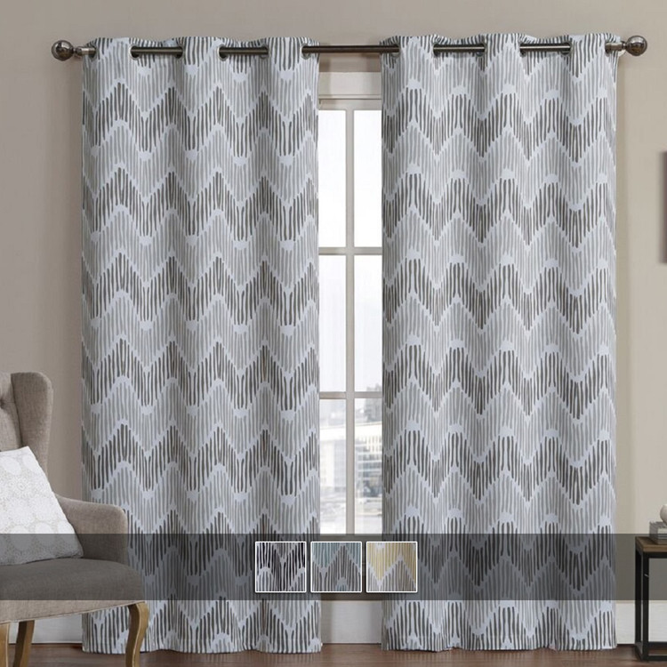 Marlie Intelligent design Blackout Weave Grommet Curtain Panels With Colors