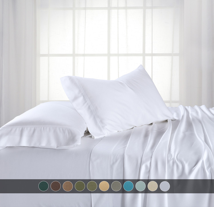 White- Adjustable Split King Cool 100% Bamboo Viscose 600TC Sheets With Deep Pockets