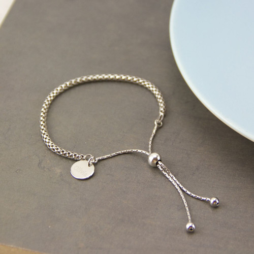 Personalised Sterling Silver Rope Slide Bracelet