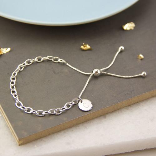 Personalised Sterling Silver Chain Slide Bracelet