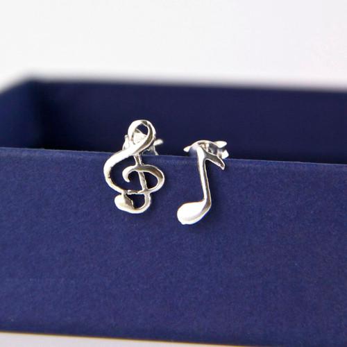Sterling Silver Musical Stud Earrings