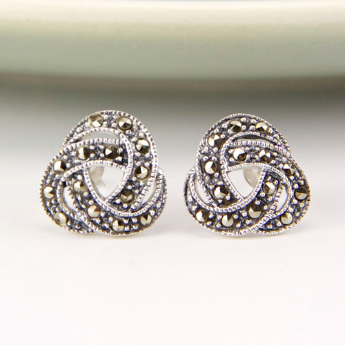 Marcasite Sterling Silver Knot Earrings