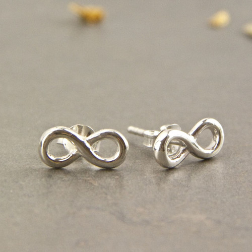 Dainty Sterling Silver Infinity Knot Stud Earrings