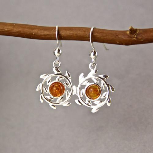 Amber Sterling Silver Wreath Earrings