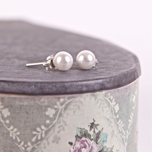 Pearl Silver Stud Earrings