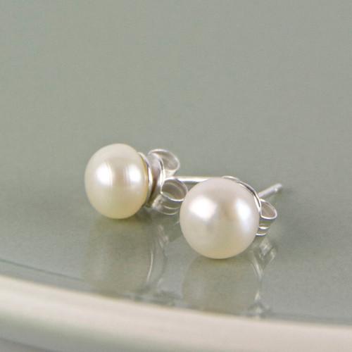 Silver Freshwater Pearl Stud Earrings