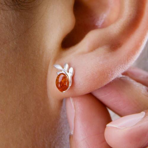 Sterling Silver Amber Leaves Stud Earrings