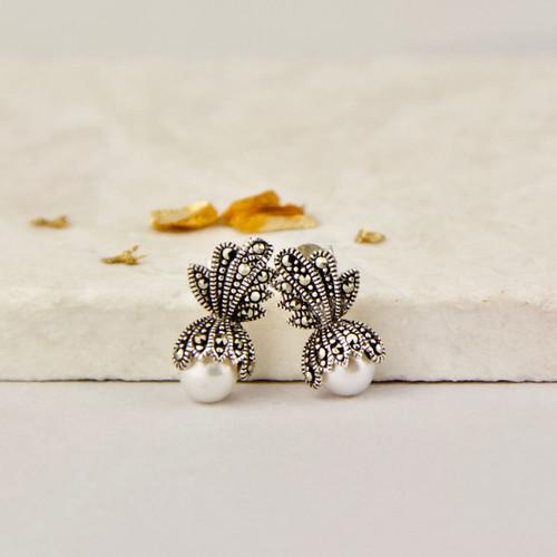 Freshwater Pearl And Marcasite Crown Stud Earrings