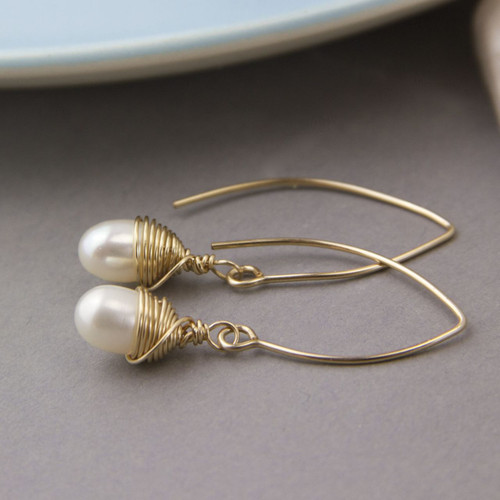 Wrapped Gold And Teardrop Pearl Long Earrings