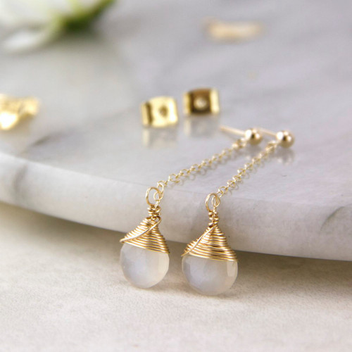 Gold Moonstone Long Chain Stud Earrings