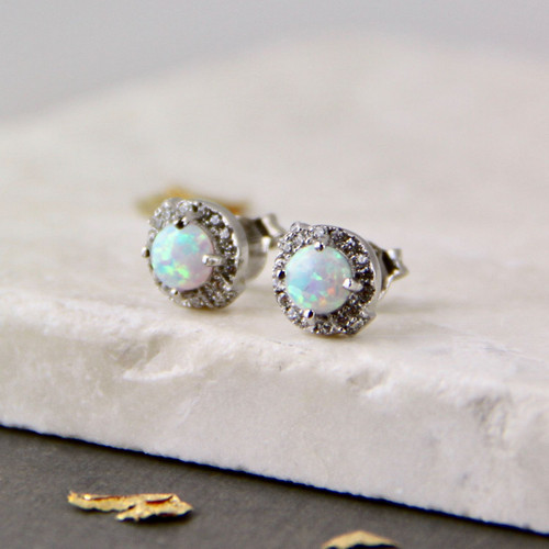 Crystal Framed Opal Stud Earrings