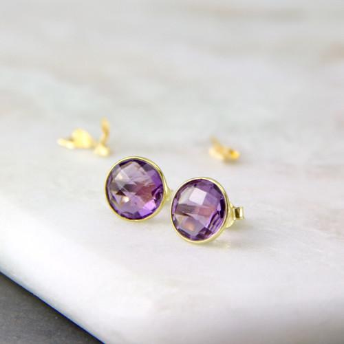 Gold Amethyst Halo Stud Earrings