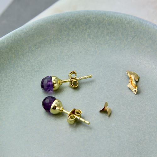 Petite Gold Amethyst Stud Earrings