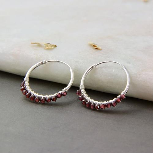 Garnet Gemstone Sterling Silver Hoop Earrings