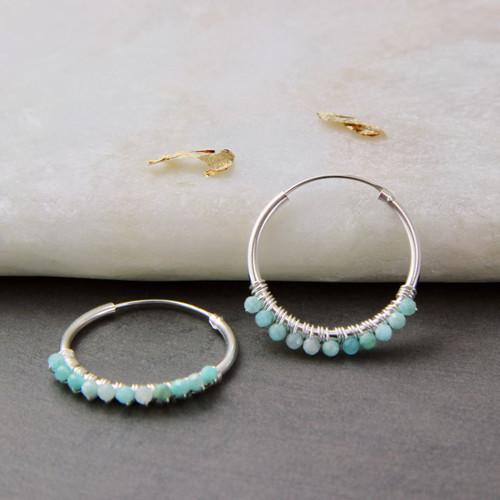 Gemstone Sterling Silver Hoop Earrings