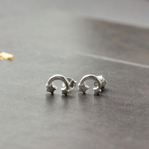 Petite Moon And Stars Sterling Silver Stud Earrings
