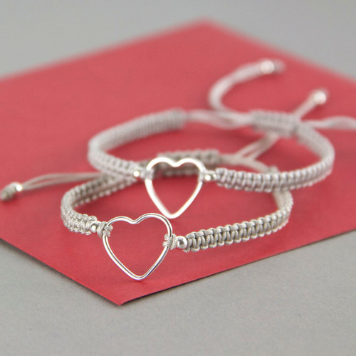 Sterling Silver Open Heart Adjustable Bracelet