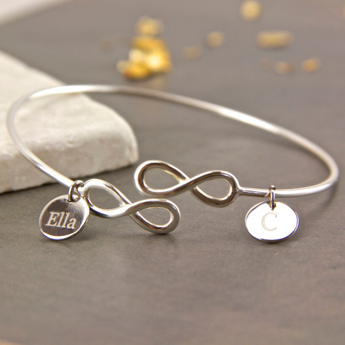 Sterling Silver Infinity Knot Open Bangle