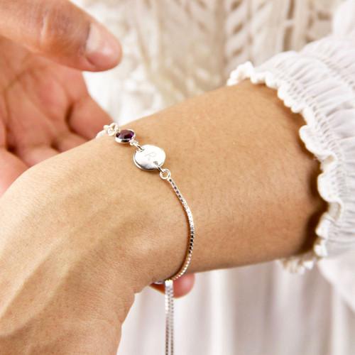 Sterling Silver Birthstone Initial Sliding Bracelet