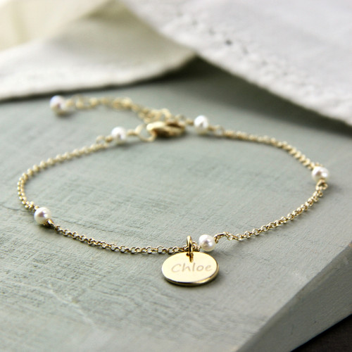 Gold Filled Delicate Pearl Chain Bracelet