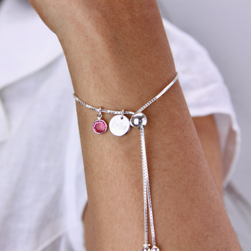 Birthstone Adjustable Sliding Bracelet
