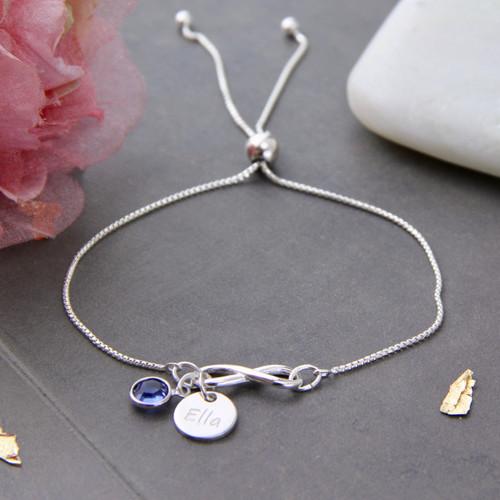 Sterling Silver Infinity Birthstone Sliding Bracelet
