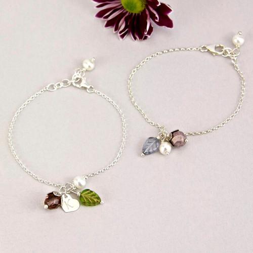 Personalised Silver Petal Blossom Bracelet
