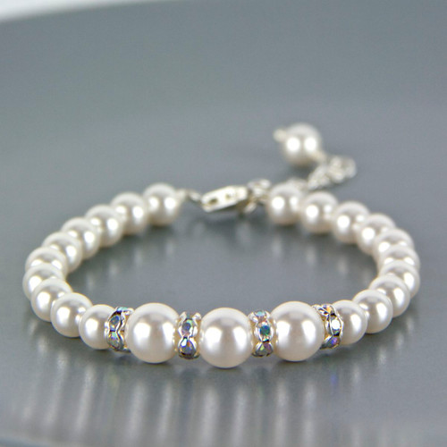 Graduated Pearl Sterling Silver Bracelet