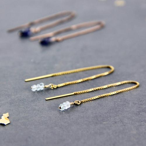 Gold Filled Semi-Precious Birthstone Threader Earrings