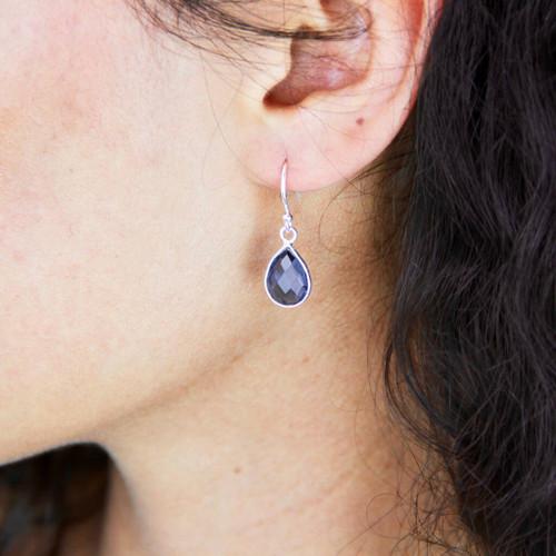 Silver or Gold Birthstone Teardrop Earrings